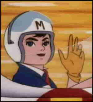 Speed Racer says hi to the fans.