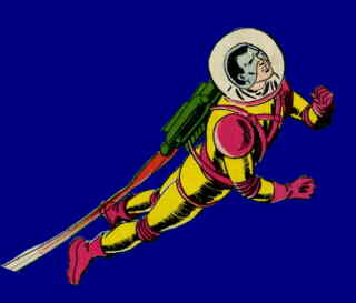 Space Ranger rockets into action. Artist: Bob Brown.