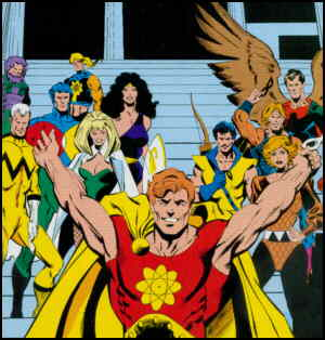 The Squadron Supreme unmask, preparatory to taking over the world. Artists: Bob Hall and John Beatty.