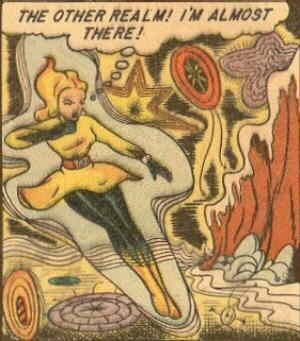 Sun Girl has almost arrived at the Other Realm. Artists: Mike Sekowsky and Carl Burgos.