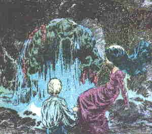 Swamp Thing confronts a pair of humans in a 1973 comic book. Artist: Berni Wrightson.