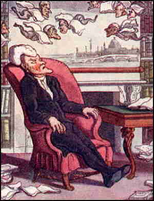 Dr. Syntax has a bad dream. Artist: Thomas Rowlandson.