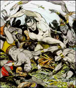 Tarzan fends off the native hordes. Artist: Burne Hogarth.