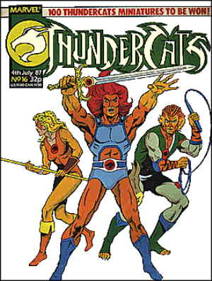 L-r: Cheetara, Lion-o, Tygra, from the cover of a British Thundercats comic book