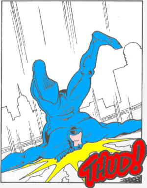 The Tick in hot pursuit of a villain. Artist: Ben Edlund.