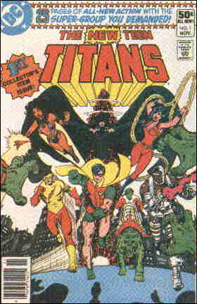 Cover of the first issue of New Teen Titans. Artist: George Pérez.