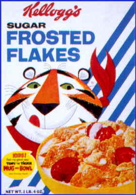 Tony the Tiger: a 1964 cereal box.