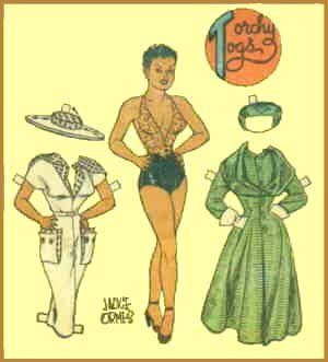 A Torchy Brown paper doll with a couple of outfits. Artist: Jackie Ormes.