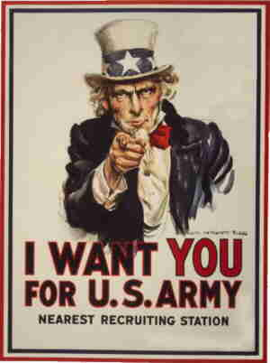 Uncle Sam's most famous picture. Artist: James Montgomery Flagg.
