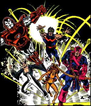 West Coast Avengers' initial team. Artists: Al Milgrom and Joe Sinnott.