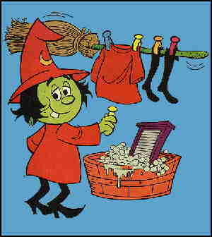 Wacky Witch's housework.