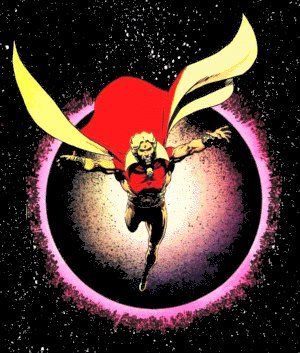 Warlock looking typically cosmic. Artist: Jim Starlin.