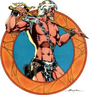 Warlord, typically half-naked. Artist: Mike Grell.