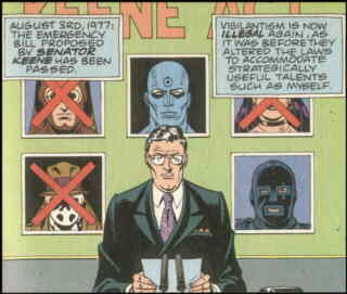 Watchmen: The day superheroes became illegal. Artist: Dave Gibbons.
