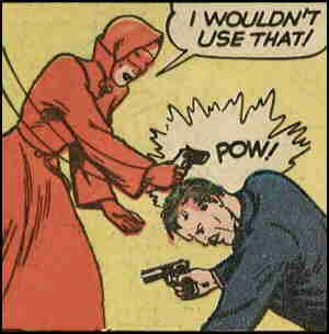 The Woman in Red in action. Artist: George Mandel.