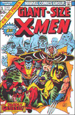 1975 X-Men comics cover: transition issue between old and new groups. Artist: Dave Cockrum.