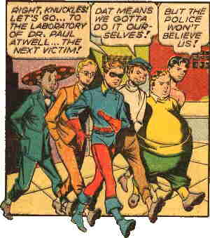 L-r: Whitewash, Jeff, Bucky, Knuckles, Tubby, Toro. Artists: Frank Giacoia and Dan Barry.