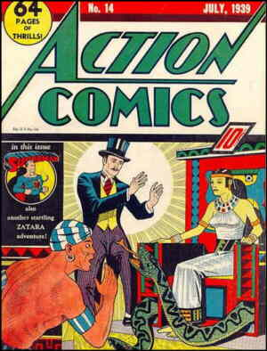 Zatara where he was seldom seen, on the cover of Action Comics. Artist: Fred Guardineer.